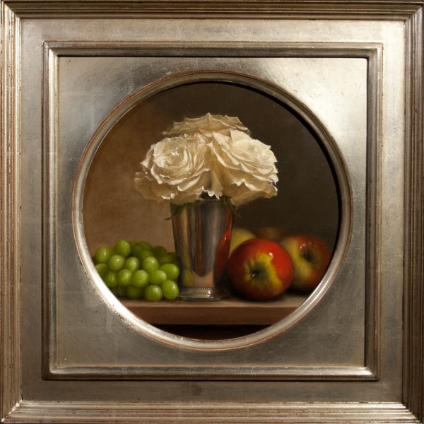Jonathan Koch - Roses, Silver Vase, Apples, Grapes
